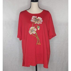 Bob Mackie Wearable Art Embroidered T-Shirt 2X Red